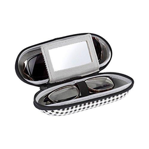 """TRI Doppelbrillenetui \""""Spiegel\"""", Hartschalenetui für 2 Brillen, inkl. Make-Up Spiegel, mit Reißverschluss"""