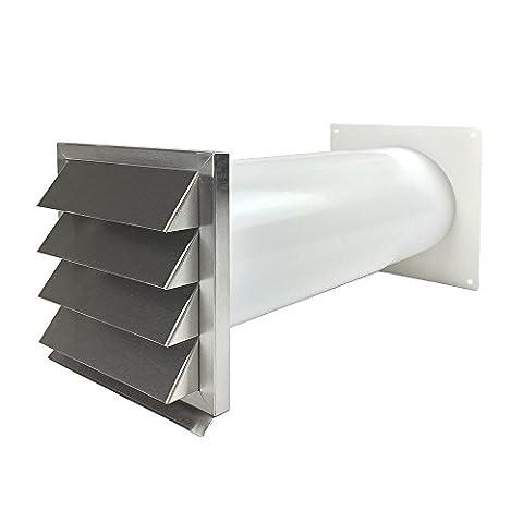 EASYTEC Energiesparender Mauerkasten Ø 150 mm Edelstahl mit zwei Rückstauklappen 716350881519