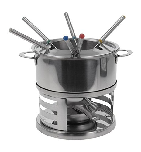 9 Piece Stainless Steel Cheese Chocolate Fondue Kitchen Set Pot Burner Forks