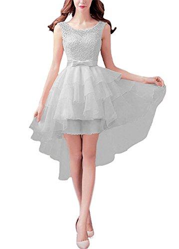 Ysmo Frauen Hi-Lo Stickerei Spitze Abgestuftes Kurzes Tailing Abend Kleid Abschlussball Kleid Ball Gray