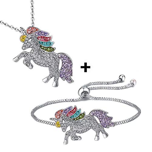 Lovinda Silver Plated Rainbow Unicorn Bracelets and Necklaces 2-piece Set for Girl Women Colorful Zircon Unicorn Jewelry Set for Birthday Gift x1Set