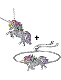Lovinda Silver Plated Rainbow Unicorn Bracelets and Necklaces 2-piece Set for Girl Women Colorful Zircon Unicorn Jewelry Set for Birthday Gift x1Set