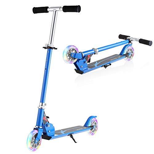 WeSkate Kinder Roller Scooter Höhenverstellbarer Kinderscooter Cityroller Tretroller mit 2 LED Leuchten Räder für Kinder Jüngere Mädchen ab 4-12 Jahre, Mini Faltbarer Tragbar Kinderroller Kickscooter