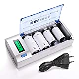 EBL Universal Akku Ladegerät und Entladegerät für AA, AAA, C, D, 9v Block, NI-MH/NI-Cd wiederaufladbare Batterien, Multi Ladegerät mit LCD Display