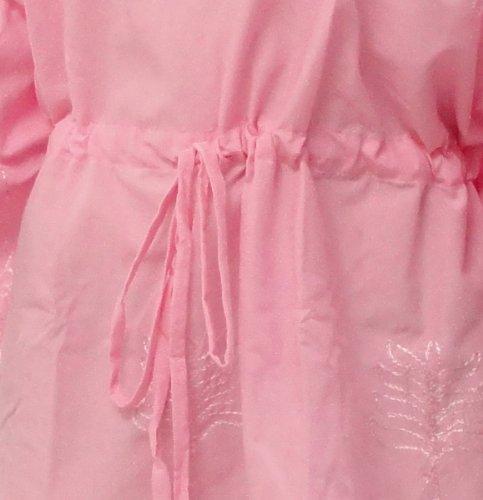 La Leela Frauen Kaftan Strand Tunika lange Strandmode Bikini-Vertuschung Bluse Kimono kurz bis 14 Farben Maxi-Kleid zu wählen Rosa