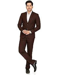 A.B.C. Garments Brown Cotton Slim Fit Suit for Men