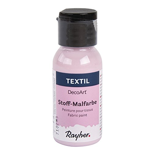 Rayher 38500262 Textil Stoffmalfarbe, Textilfarbe babyrosa, Flasche 34 ml, hochdeckend, cremige Acrylfarbe speziell für Textilien,...