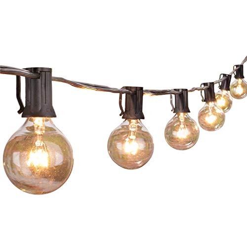 25Ft G40 Globe Outdoor-Lichterketten mit 28 Glühbirnen-Indoor/Outdoor-Lichterketten für Patio, Café-Bars, Garten-Gartenpavillons, Schwarz -