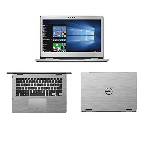 Silber Gebürstet Aluminium Haut Aufkleber Wrap Haut Case für Dell Inspiron 135000Serie 5368537833,8cm 2in 1Laptop (Dell Laptop Inspiron Aufkleber)