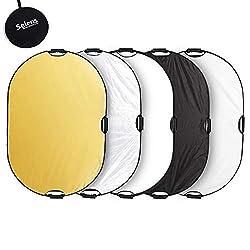 Selens 5-in-1 80x120cm Oval Reflektor Tragbarer Faltbarer für Fotografie Fotostudio Beleuchtung und Außenbeleuchtung