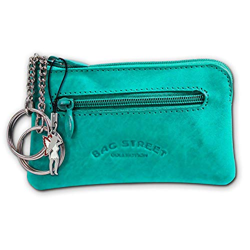 SilberDream Schlüsseltasche Echtleder, glattes Leder Etui OPJ900X, Türkis / Aqua, ohne
