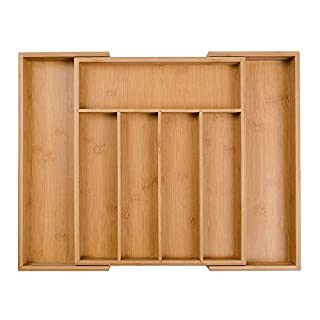 Wooden Bamboo Expandable Cutlery Tray, Drawer Insert Box Storage Organizer, with 5 to 7 Adjustable Compartments (Size: 5x48.5x37cm)