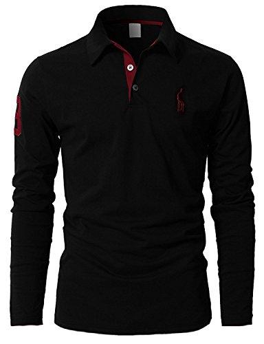 Leisure polos Hombre Mangas Largas Camiseta Algodón Deporte Oficina Botón Cuello,Negro,x-large