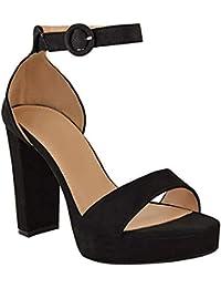 847c08763ca91 Fashion Thirsty heelberry Donna Blocco Tacchi Alti Cinturino Alla Caviglia  Sexy Sandali Punta Aperta Plateau Taglia