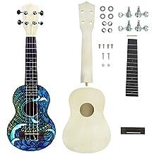 Sguan-wu Ukulele 21 pulgadas DIY Kit Guitarra Trabajo hecho a mano Ayuda Pintura Niños