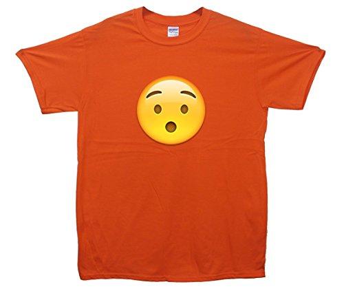 Hushed Face Emoji T-Shirt Orange