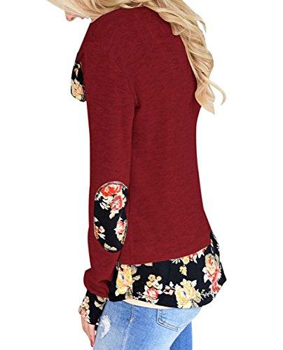 Freestyle Donna Primavera T-Shirt Maglia Asimmetrico Stampare Cucitura Casual Maglietta Top Maglie a Manica Lunga Girocollo Camicie Autunno Tunica Bluse Vino rosso