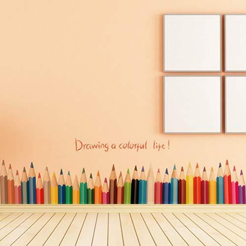 Wandaufkleber 3D Diy Kreative Farbige Bleistiftzeichnung Sockelleiste Aufkleber Wohnkultur Wohnzimmer Baseboard Wandaufkleber Pvc Wohnkultur