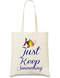 Just Keep Swimming Funny Slogan Bolso de mano