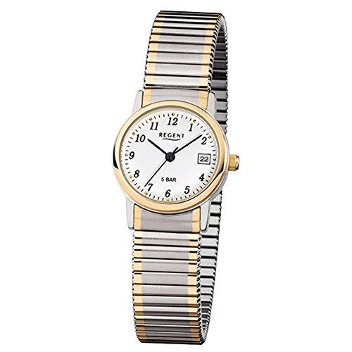 Regent Damas Reloj de pulsera f889Acero Inoxidable Cordón goldplattiert bicolor