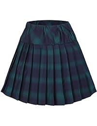 Urbancoco Damen Schulmädchen-Stil Tartan Skater Röcke
