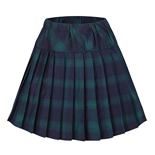 Urbancoco Damen Schulmädchen-Stil Tartan Skater Röcke (S, # 6 grün) (Frauen Schulmädchen-kostüm Für)