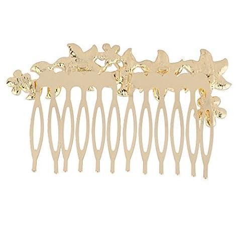 Lux Accessories - Peigne Mariage Nuptial Floral Fleur Pavé Fausses Perles