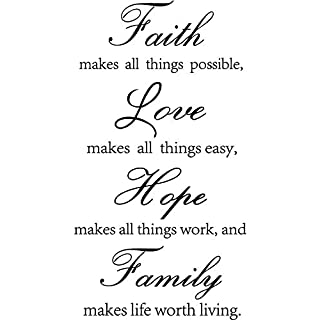 Inspirational Wall Decals Quotes, Faith Make All Things Possible, Love Makes All Things Easy, Hope Makes All Things Work, Family Makes Life Worth Living Wall Art Stickers For Home Decor, Pack of 4