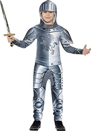 Kettenhemd Kostüm (Smiffys Kinder Deluxe Ritter Kostüm, Jumpsuit und Kapuze, Größe: S,)