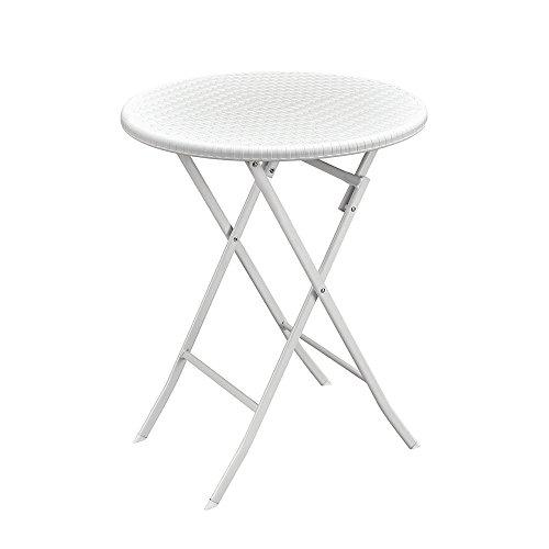 Tavolo tondo resina bianco acciaio richiudibile pieghevole picnic 45061
