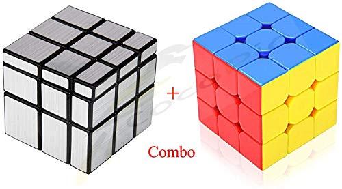 CocoRio Super Magic Speed Rubix's Cube Puzzle Combo Pack Game Multicolor (Silver Mirror / 3x3)