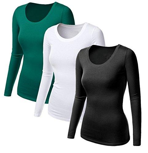 3x Damen Frauen Langarm T Shirt - 3er Pack - Basic TShirt - Basis Bluse - Tops - Schwarz + Weiss + Grün (Basis-frauen Pullover)