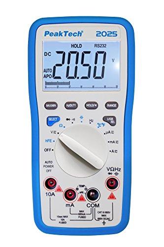 PeakTech 2025 – RMS Digitales Multimeter mit USB, 6000 Counts, Durchgangsprüfer, Autorange, Messgerät, Widerstand, Spannung, Handmultimeter, Elektronisches Strommessgerät, LCD-Anzeige – CAT III 600 V