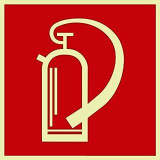Original fire extinguisher symbol sign.Andris® Din, BGV A8 plastic sheet, luminescent and self-adhesive 150 mm x 150 mm