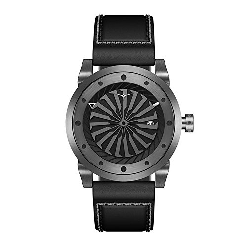 ZINVO - Reloj de alta gama para hombre, correa de piel italiana, de bronce