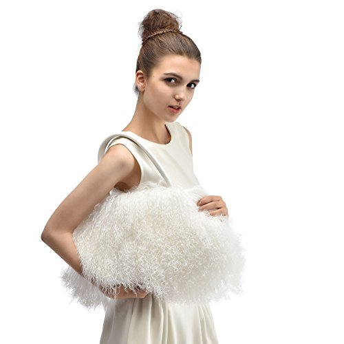 Handtasche aus Fell - Damen Mode Winter Umhängetasche aus Pelz HoBo Bag Weiß