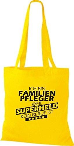 Shirtstown Stoffbeutel Ich bin Familien Pfleger, weil Superheld kein Beruf ist goldgelb