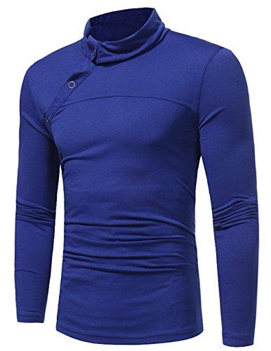 Seide Ketten-print T-shirt (LemonGirl Herren Einfarbig Langarm Slim Fit Shirts T-Shirts M-3XL Shirts T-Shirts)