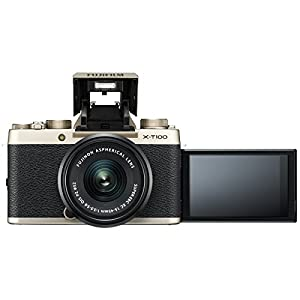 Fujifilm X-T100 Digital Camera & 15-45mm XC OIS PZ Lens (Champagne Gold) with 64GB Card + Battery & Charger + Video Light + Mic + Flash + 2 Lens Kit