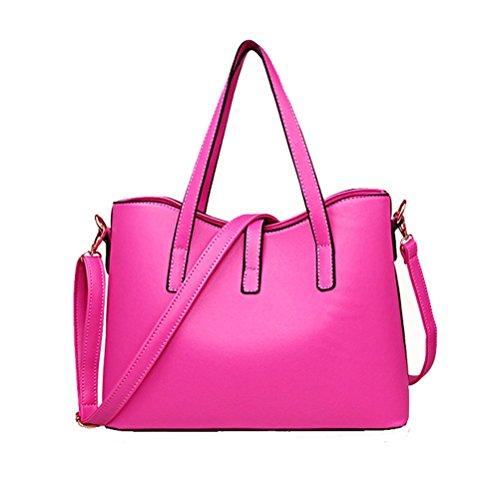 Fashion Damen PU Leder Handtasche Lady 's Line Tote Taschen rose