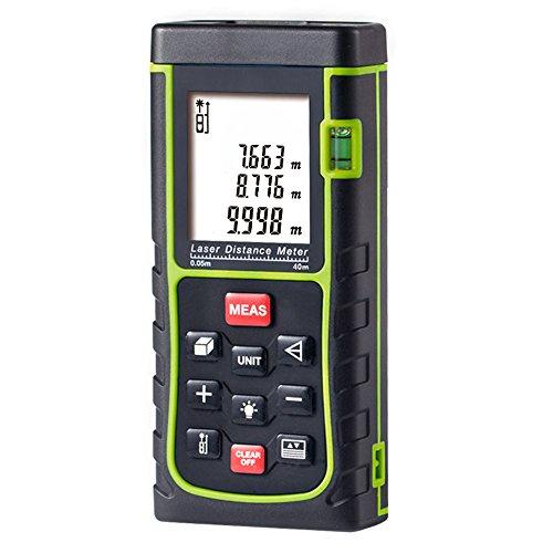 Medidor Láser de Distancia, GRDE Telémetro Láser 0 - 40M, Medidor de Metros con Unidades de Medición Ajustables entre M / In / Ft, Distanciómetro Láser con Baterías AAA Incluídas