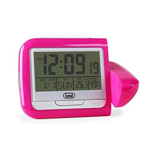 Trevi PJ 3027 digitaler Wecker und Wetterstation mit 180° schwenkbarer Uhrzeitprojektion (Thermometer, Luftfeuchtigkeitsmesser, Alarm, Snooze) pink