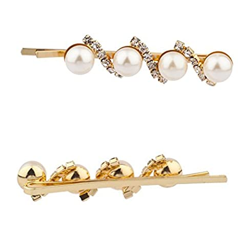 Lux Accessories Kunstperle Glatt Kristall Haarspanges Pins Set Bridal Bride Brautjungfer