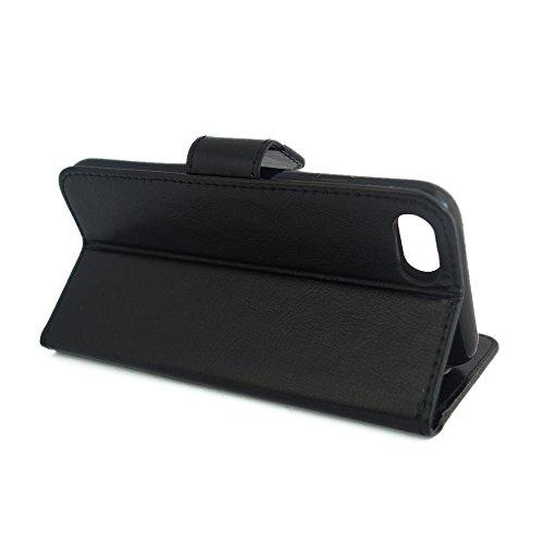 VCOMP® PU-Leder Handy Brieftasche mit Kartenfächer und Video-Standfunktion für Apple iPhone 6 Plus/ 6s Plus - WEISS SCHWARZ + Mini Eingabestift