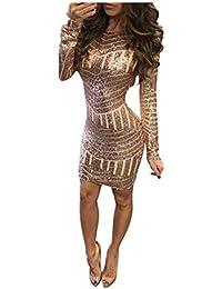 Vestiti Donna Rovinci Elegante Vestito Dorato Lustrini Cerimonia Vestiti da  Cerimonia Corti Le Donne Sexy Moda 61ef8b08901