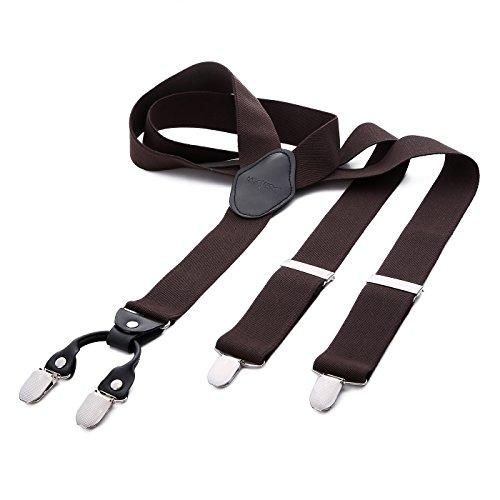 Dondon bretelle uomo larghe 3,5 cm 4 clips in pelle a y - elastiche e regolabili marroni
