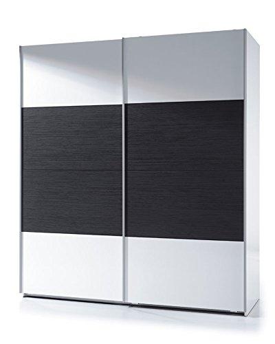 Habitdesign ARC183BO - Armario dos puertas correderas, color Blanco Brillo y Negro Malla, medidas: 200x180x63 cm de fondo