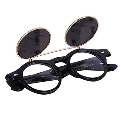 h Brille Retro Flip Up Runde Sonnenbrille Vintage Mit Runder Doppelschicht Klappdeckel QualitäT Frauen MäNner Rave Gothic Rustikale Niet Viktorianischen Punk Stil(B) ()