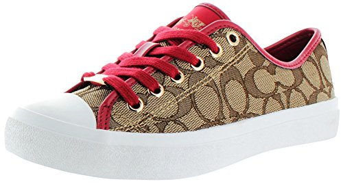 Coach Empire Toile Baskets Khaki-True Red