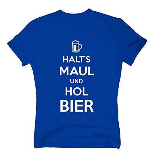 Herren T-Shirt - Halt's Maul und hol Bier - von SHIRT DEPARTMENT rot-weiss